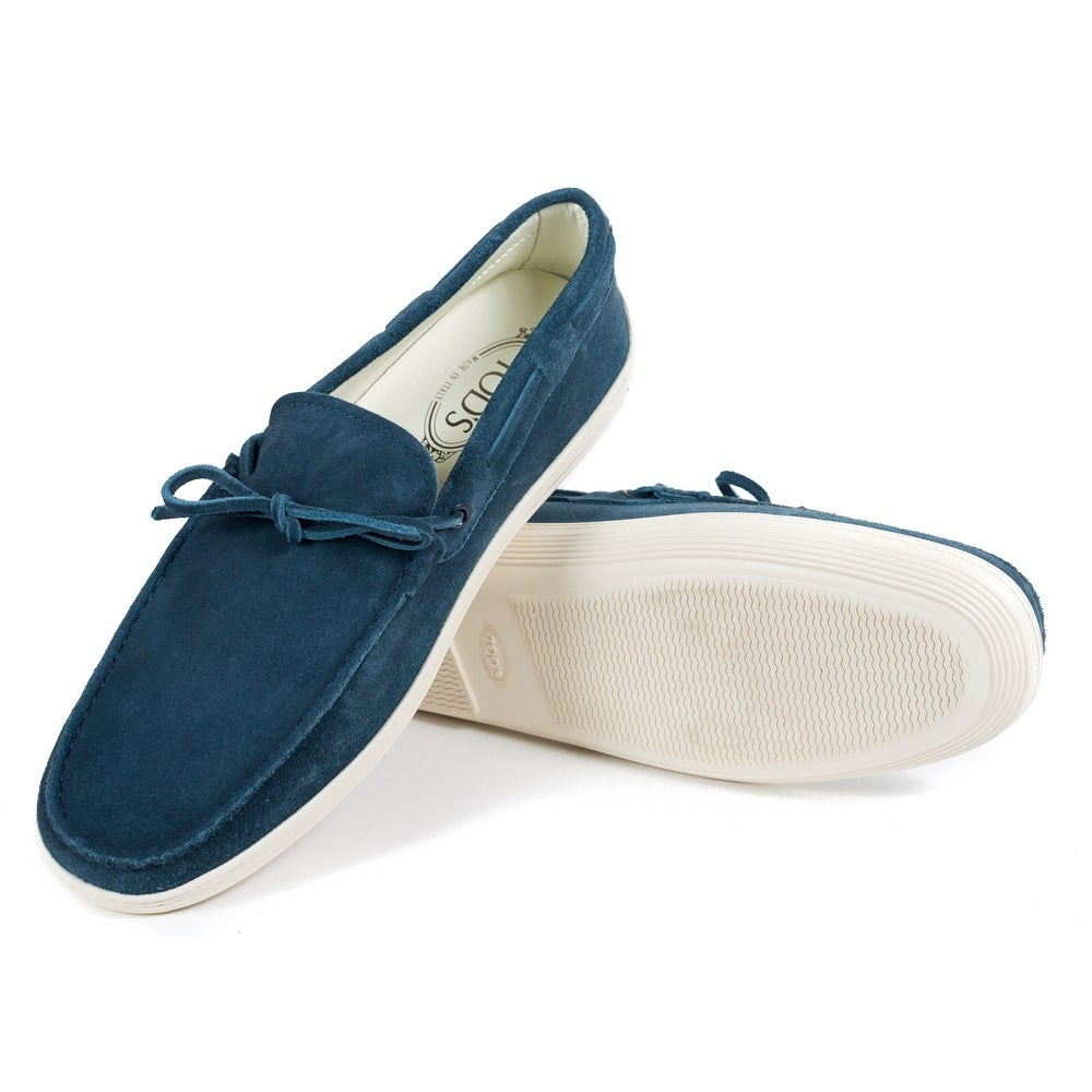 ec7e2b1e0c2 Tod's Mens Navy Suede White Sole Front Tie Moccasins Loafers UK6.5/US7.5  RTL$695