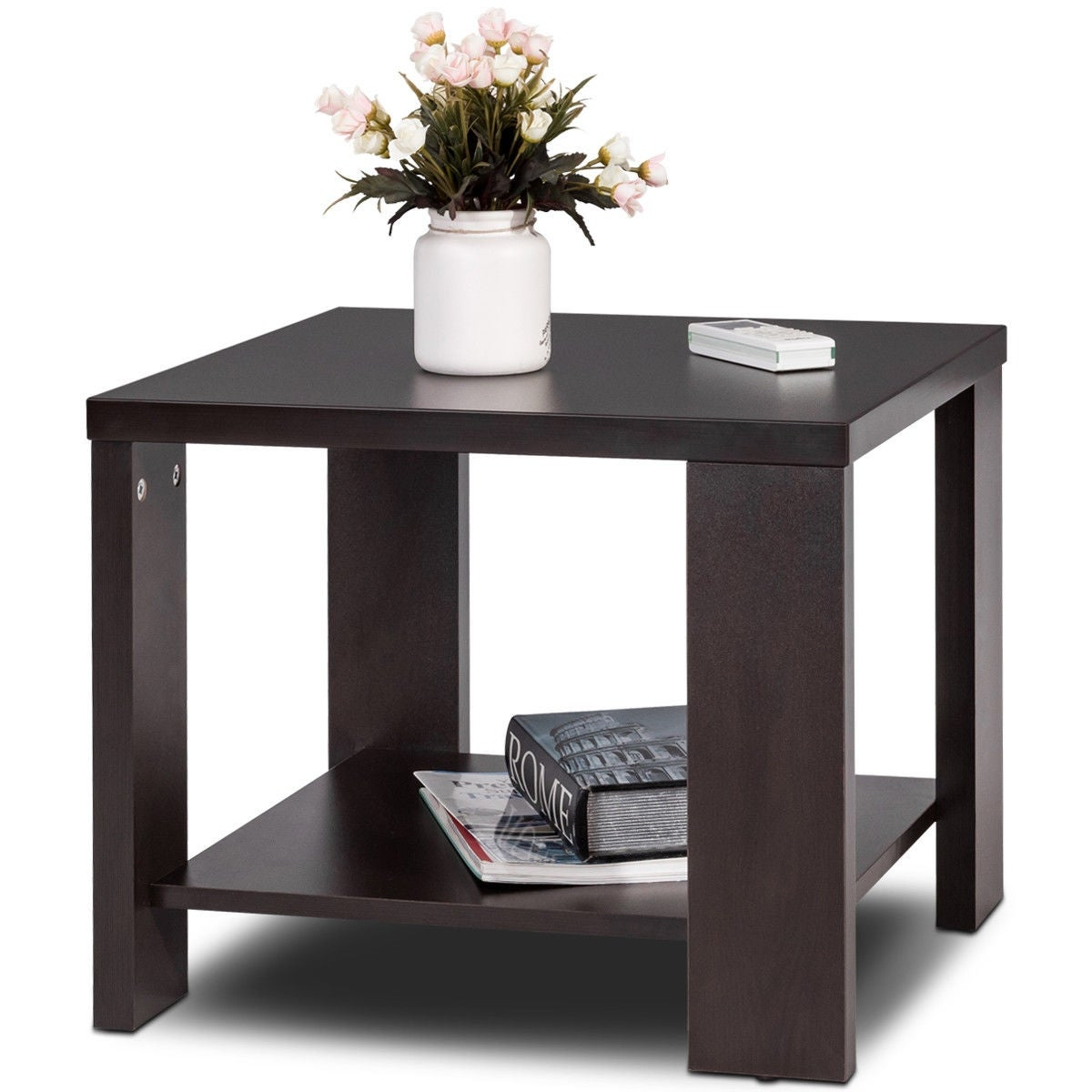 Shop Gymax Square Coffee Tea Sofa Side End Table Living Room ...