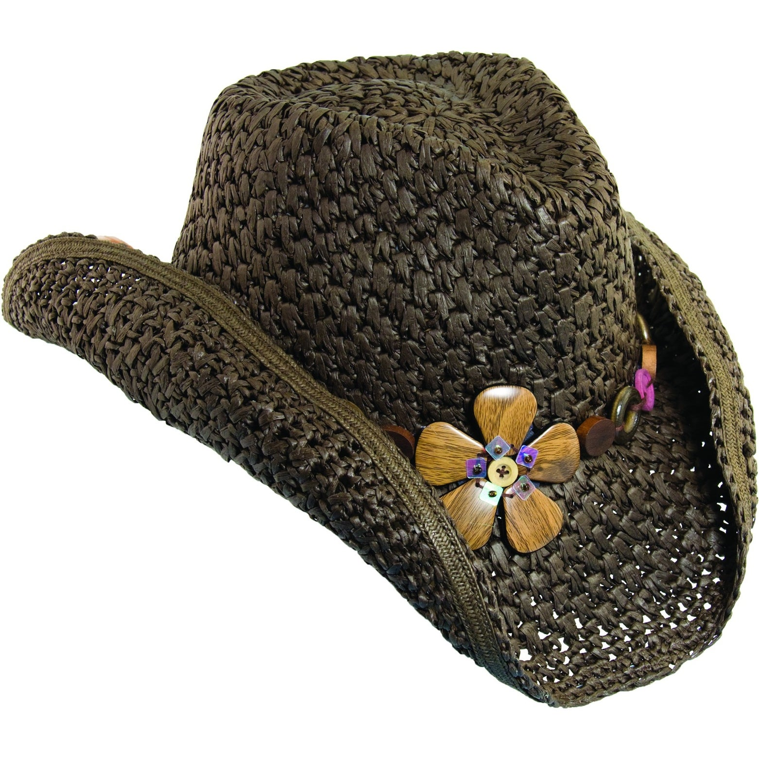 Shop Dorfman Pacific Women\'s Crocheted Toyo Western Cowgirl Hat with ...
