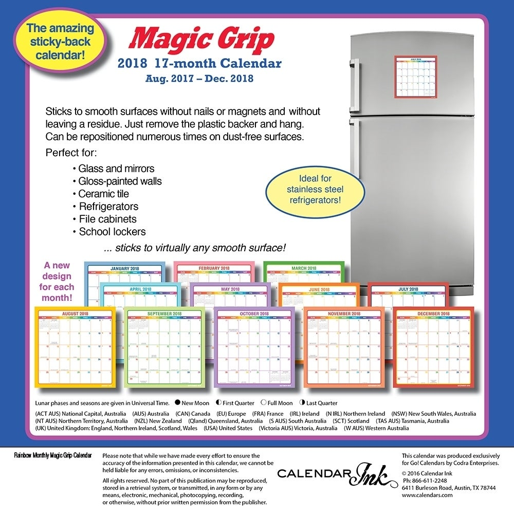 shop 2018 rainbow magic grip wall calendar free shipping on orders over 45 overstockcom 18139613
