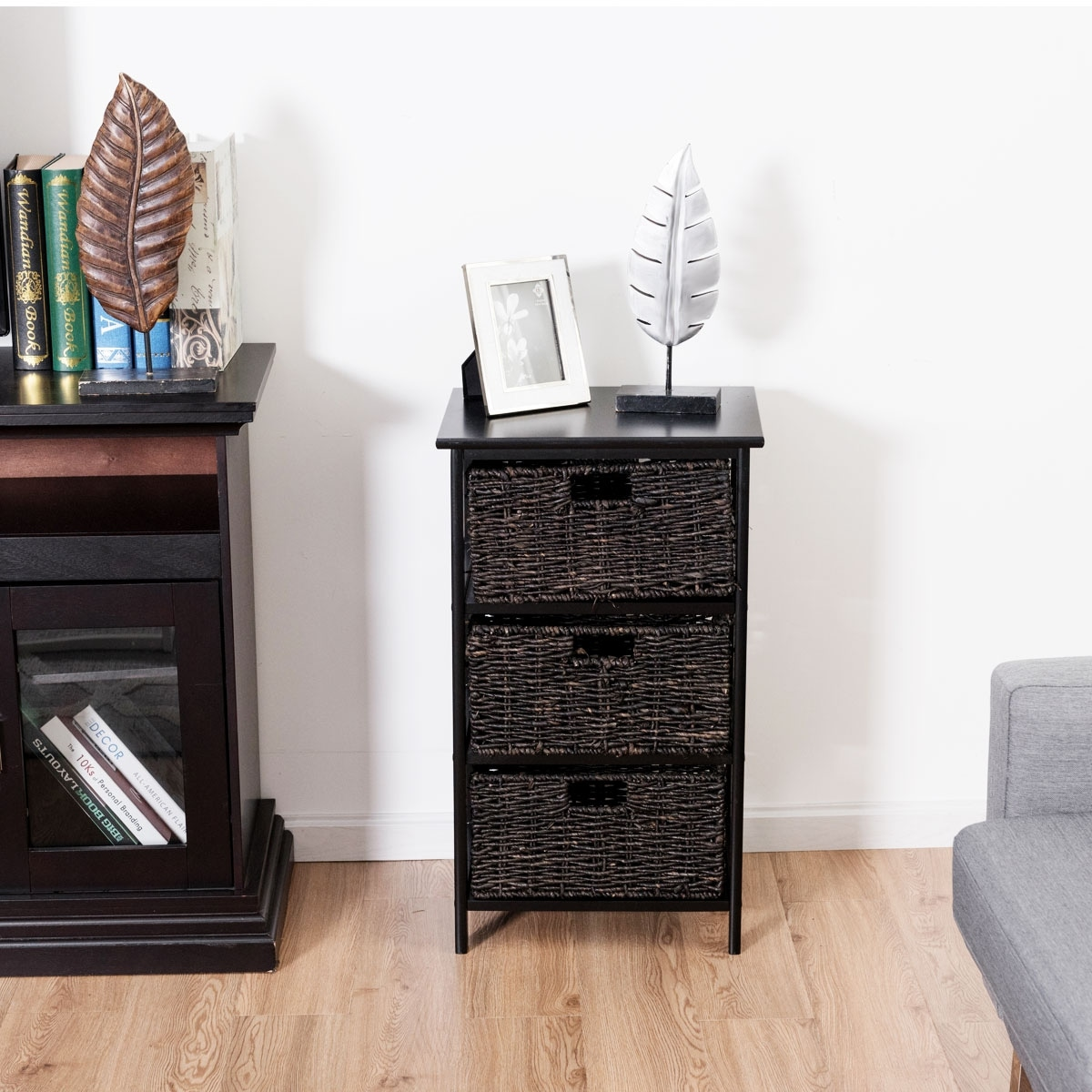 Costway wooden end accent storage table home office furniture decor w 3 storage baskets black
