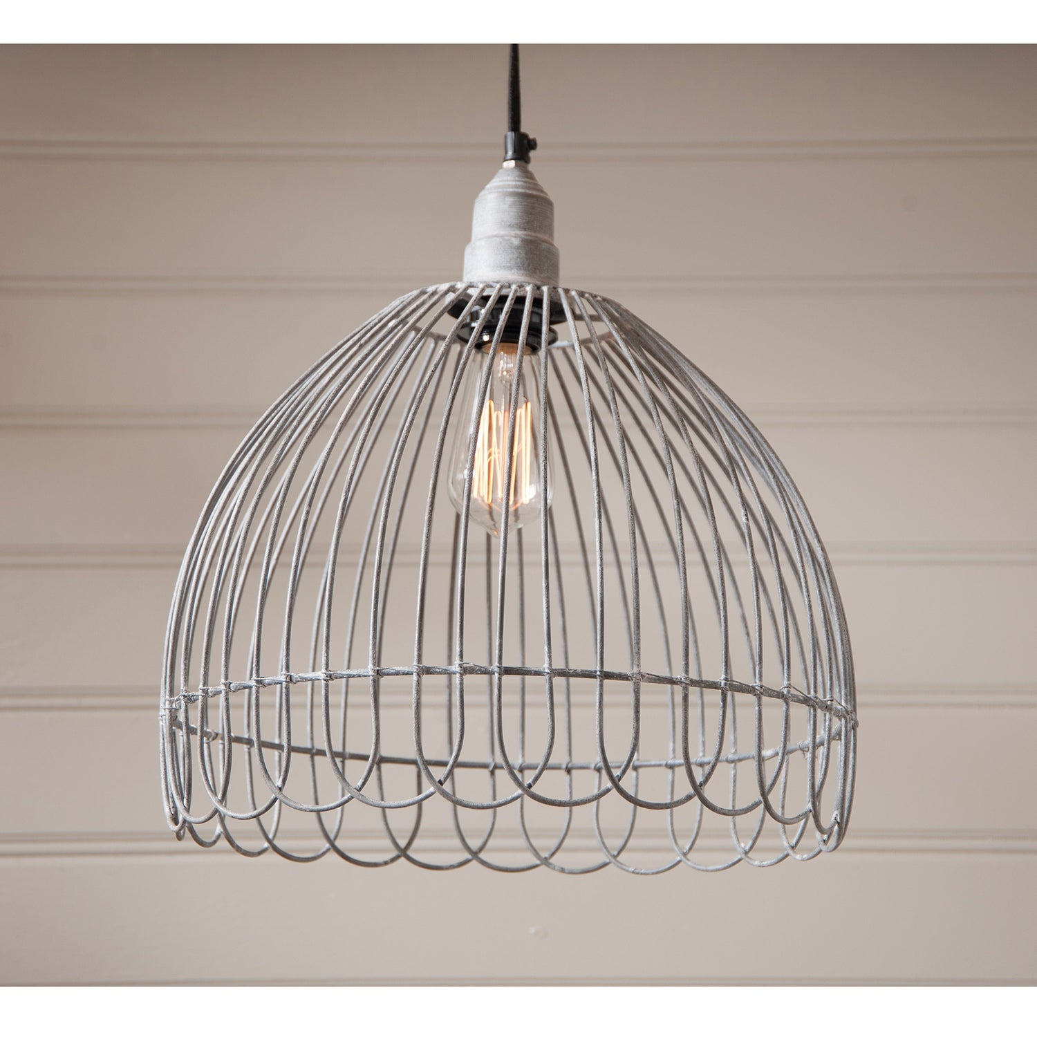 Petal Wire Cage Pendant in Weathered Zinc - Free Shipping Today ...