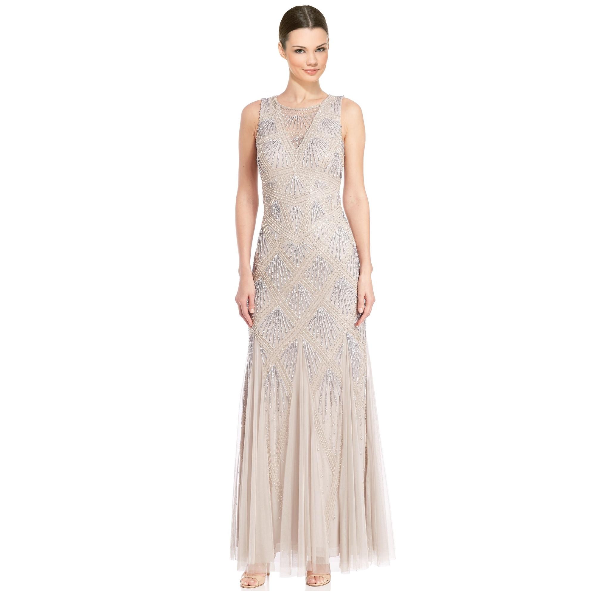Aidan Mattox Beaded Godet Evening Gown Dress - Free Shipping Today ...