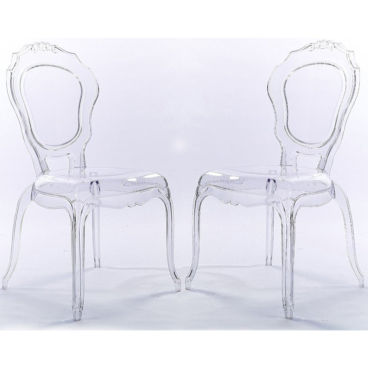 Genial Shop 2xhome Set Of 2 Clear Plastic Side Chairs Dining Chair Modern  Polycarbonate Transparent Crystal Living Room Desk   Free Shipping Today    Overstock.com ...