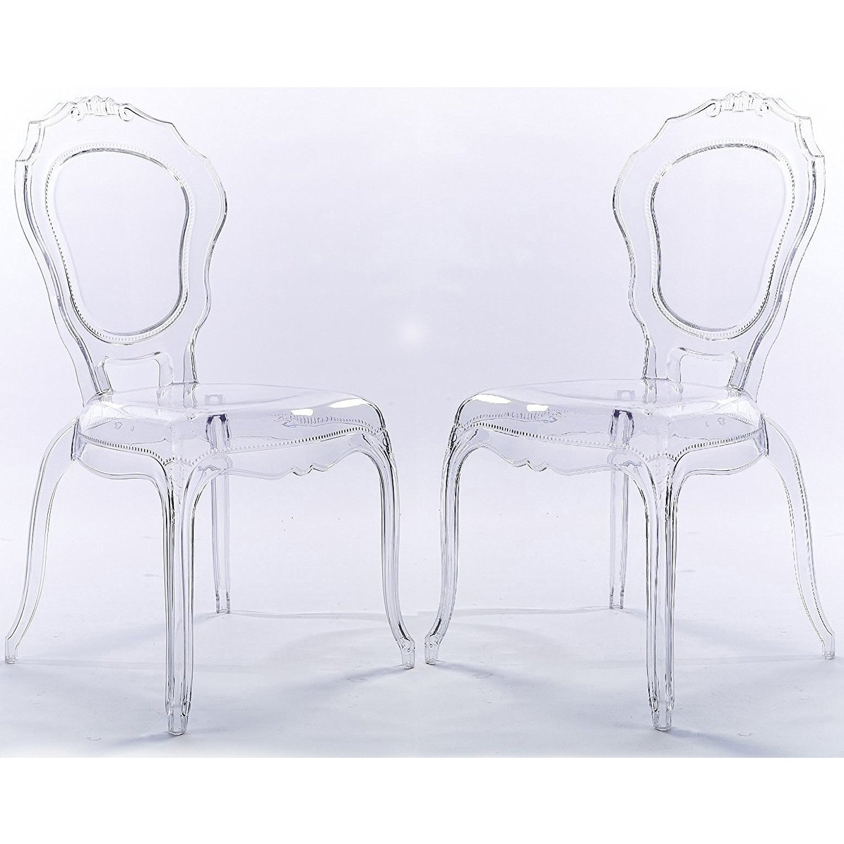 2xhome Set Of 2 Clear Plastic Side Chairs Dining Chair Modern Polycarbonate Transpa Crystal Living Room Desk On Free Shipping Today