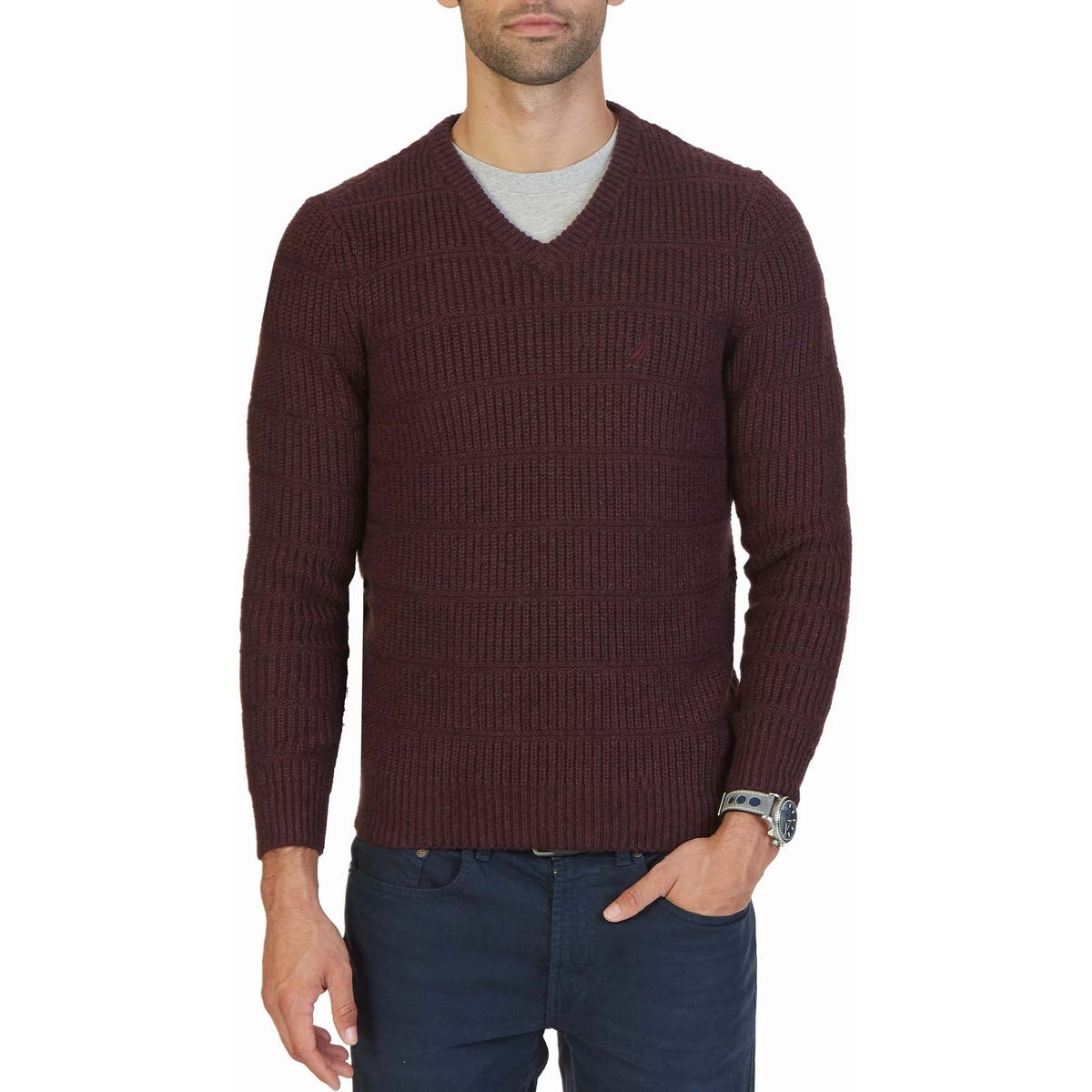 Shop Nautica Textured Knit V-Neck Sweater Shipwreck Burgundy - Free  Shipping Today - Overstock.com - 17415905 5f591b10f