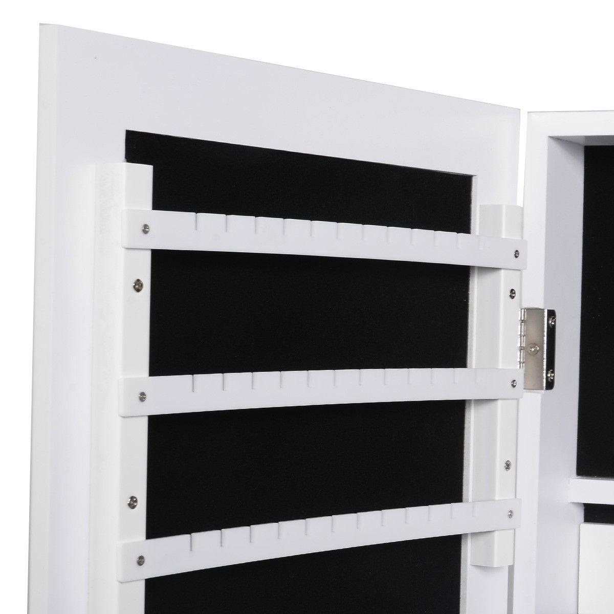 Costway Mirrored Jewelry Cabinet Mirror Organizer Armoire Storage