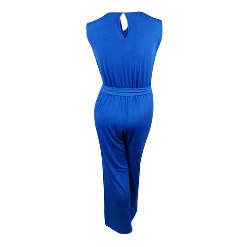 090def741df Shop Spense Women s Sequined-Shoulders Belted Jersey Jumpsuit - Blue Royal  - 14W - On Sale - Free Shipping Today - Overstock - 14812645