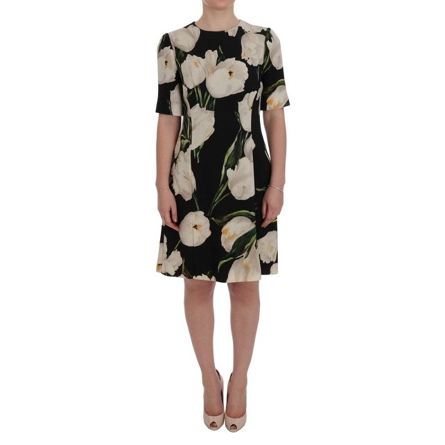 73330ee0 Shop Dolce & Gabbana Black White Tulips Wool Sheath Dress - it46-xl ...
