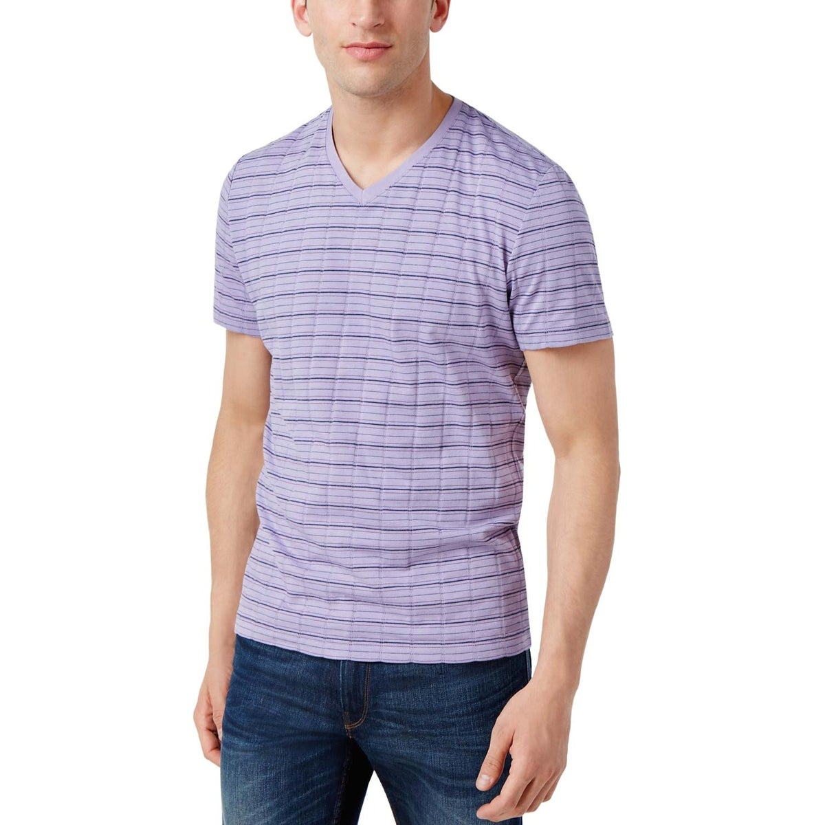 fb11f1539318 Shop Alfani Black Label Regular Fit Violet Dust Striped V-Neck T-Shirt  Small S - Free Shipping On Orders Over $45 - Overstock - 19796082