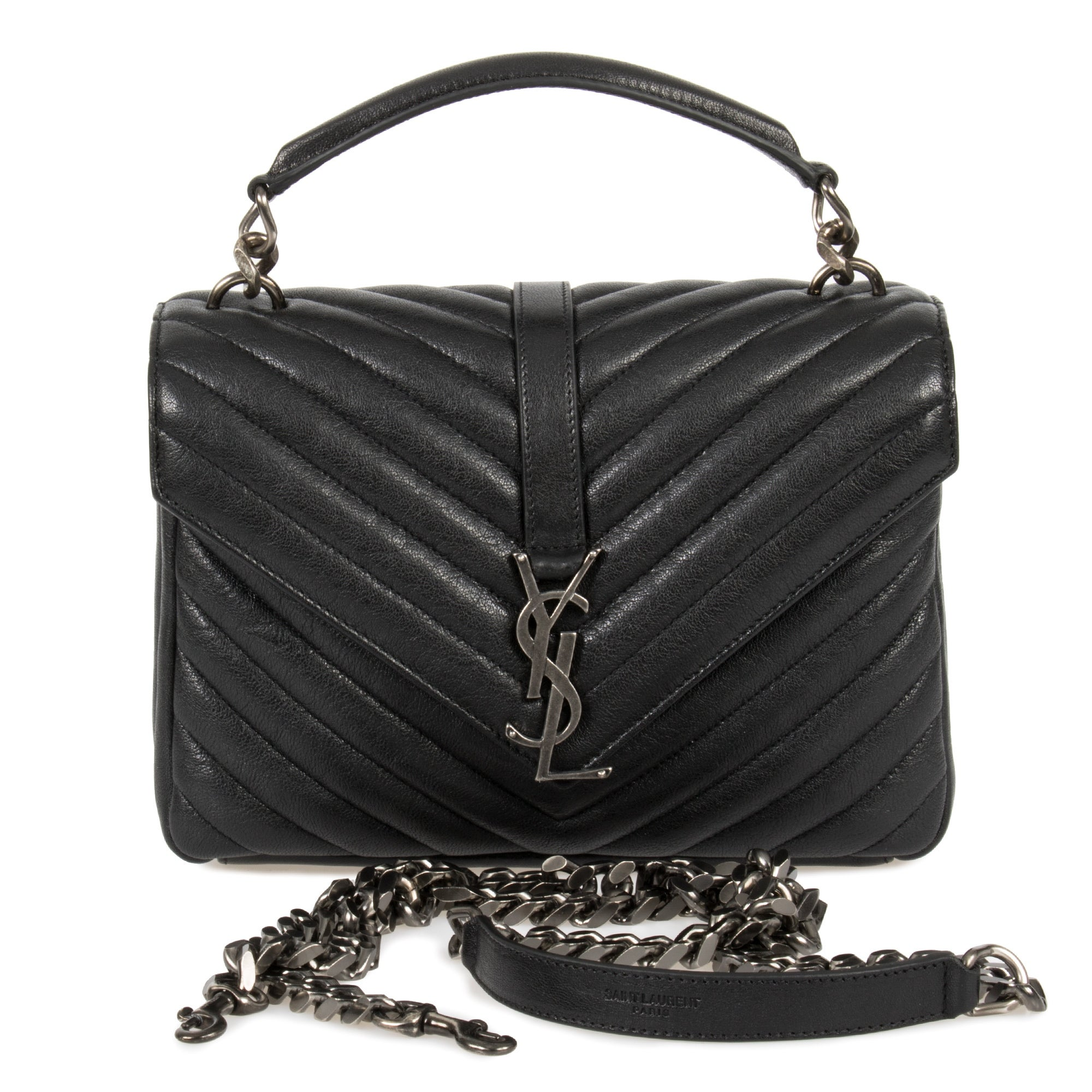 70a0f1dcab8 Shop Saint Laurent Classic Medium Monogram Black Matelasse Leather College  Bag - Free Shipping Today - Overstock - 23076884