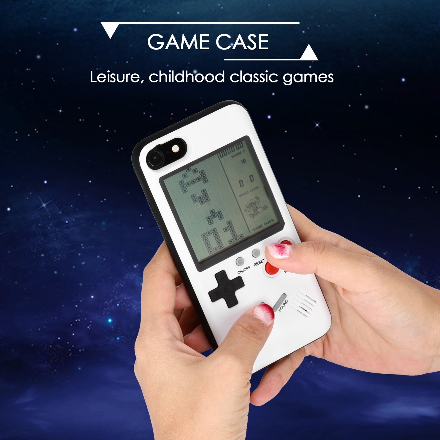 Retro Real Game Console Play Gameboy Tetris Phone Case for IPhone x ,color  White