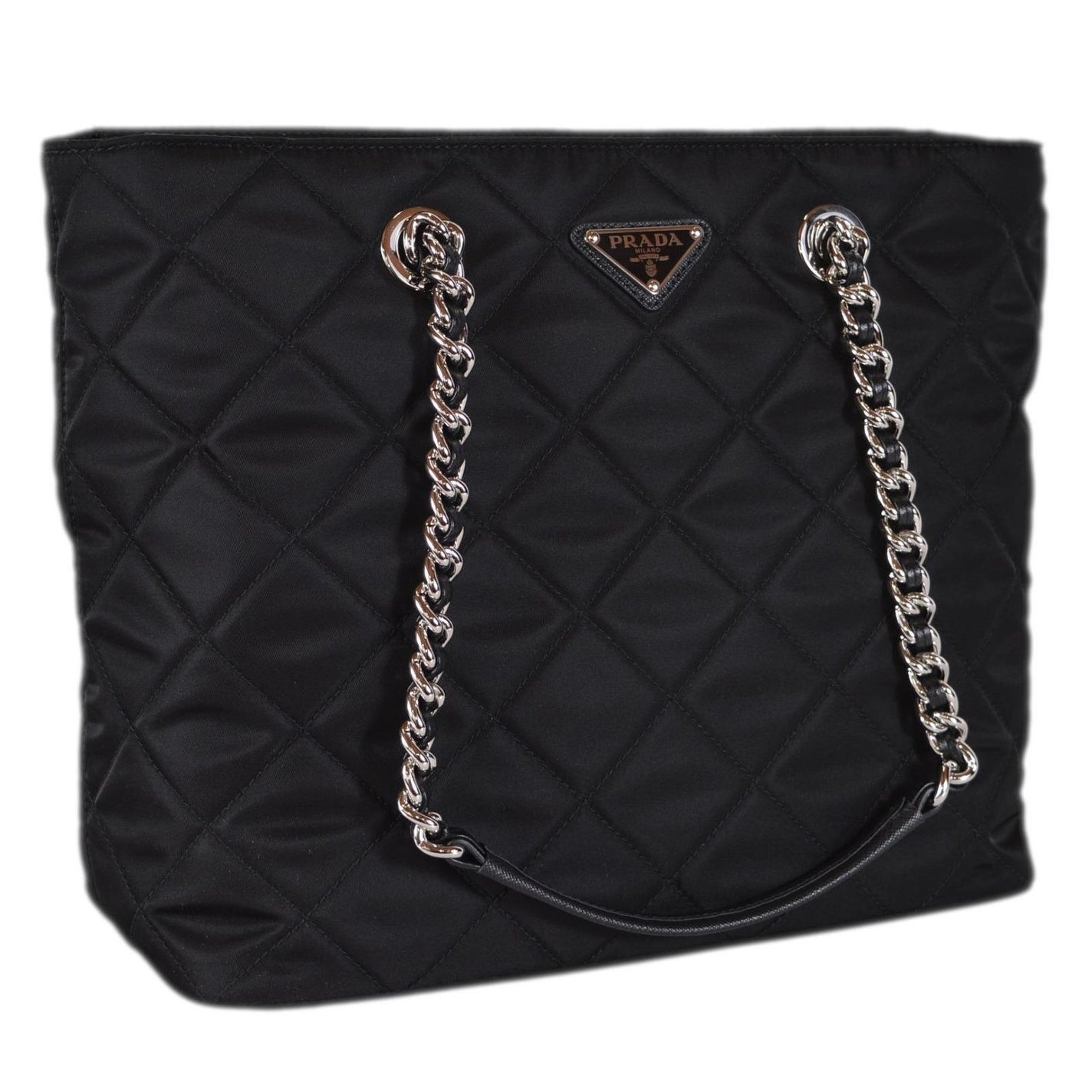 ... new zealand shop prada black 1bg017 black tessuto quilted nylon chain  strap purse tote on sale ... 6f0a9cfe93f71