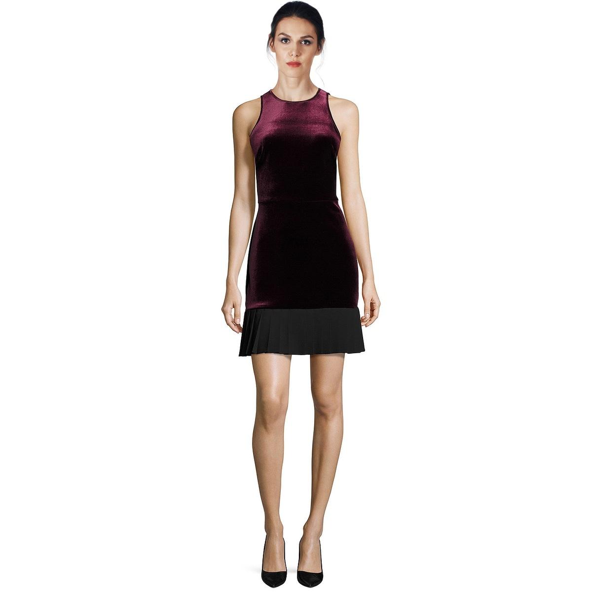 ABS by Allen Schwartz Velvet Pleated Hem Sleeveless Cocktail Dress ...