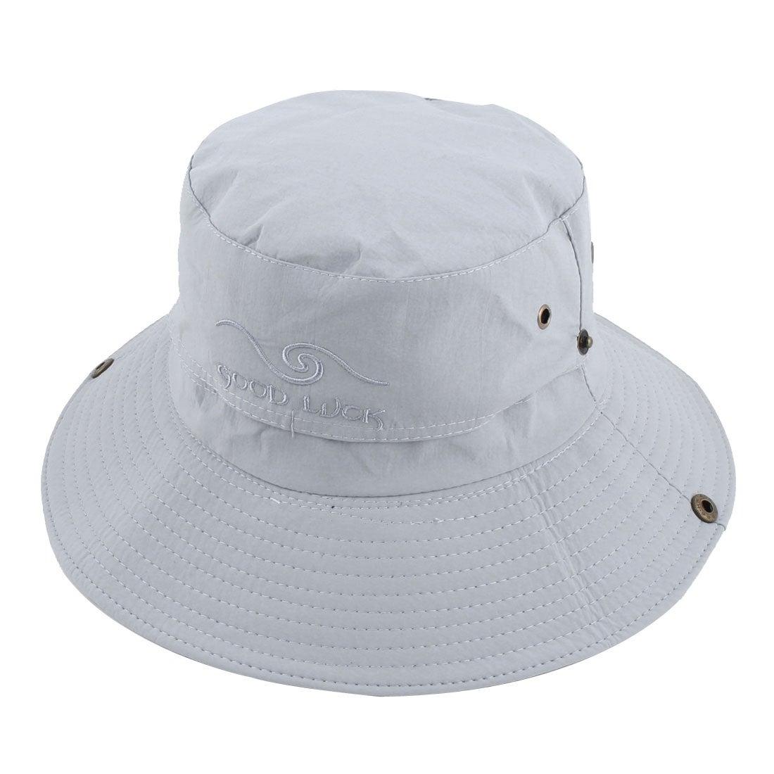 Outdoor Sport Hiking Mesh Wide Brim Protector Bucket Summer Cap Fishing Hat  Gray 5392f217f13