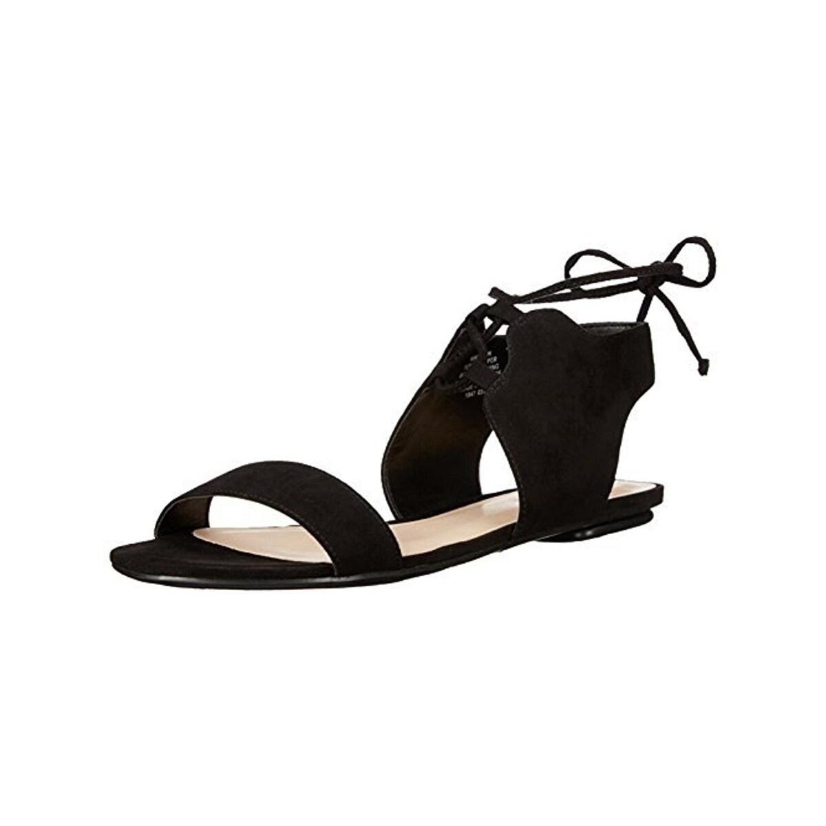9980c36062fa Nine West Womens Jadlin Flat Sandals Faux Suede Ankle Wrap - 7.5 Medium (B