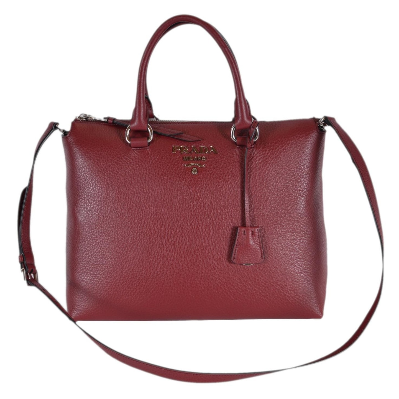 Prada 1BA063 Vitella Phenix Borsa Burgundy Leather Convertible Purse Handbag  - Red
