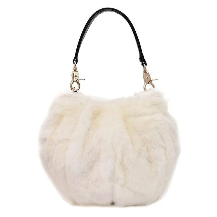 d44913e56e QZUnique Women's Faux Fur Shoulder Handbag Fluffy Bucket Bag Crossbody  Evening Purse
