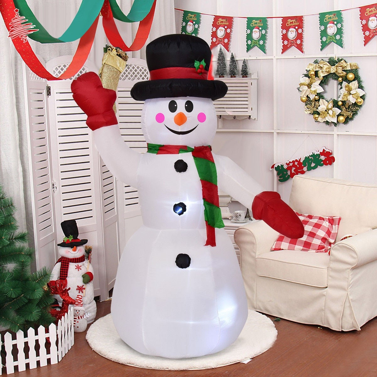 Costway 8' Indoor/Outdoor LED Snowman Christmas Holiday Decoration Setting  - Free Shipping On Orders Over $45 - Overstock.com - 24358264