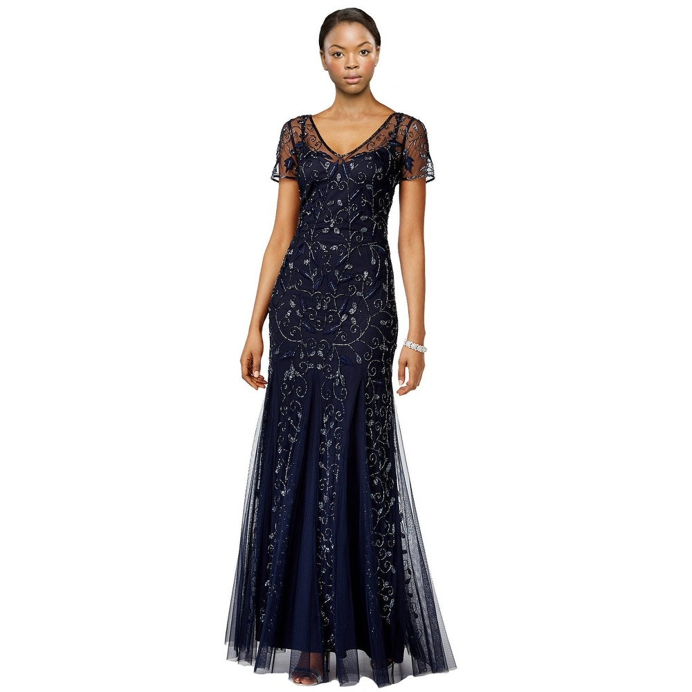 Shop Adrianna Papell Short Sleeve Floral Beaded Mermaid Evening Gown ...