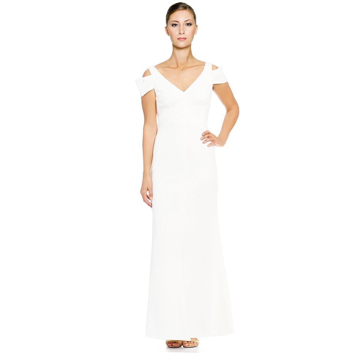 Shop Calvin Klein Crepe Cold Shoulder Evening Gown Dress White ...