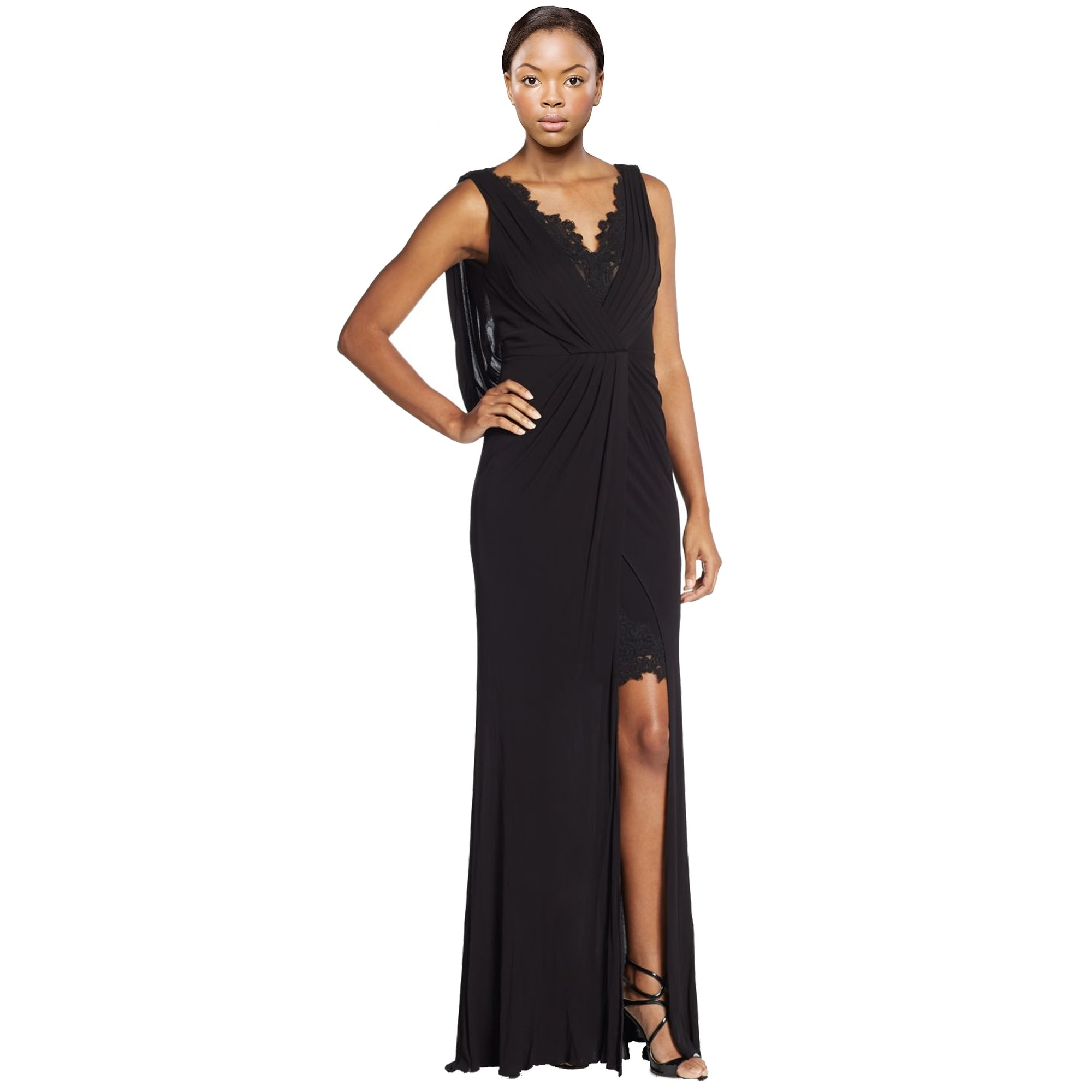 717073b29c4 Shop ML Monique Lhuillier Lace Accented Draped Empire Evening Gown Dress  Black - 12 - Ships To Canada - Overstock - 14104138