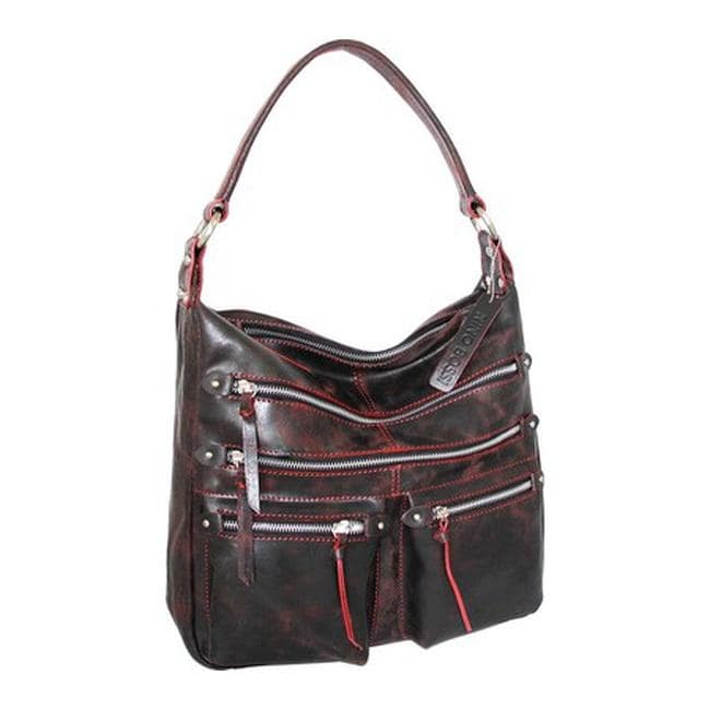 398ff8bdcf4f Nino Bossi Women s Heather Leather Hobo Handbag Black Red - us women s one  size (size none)