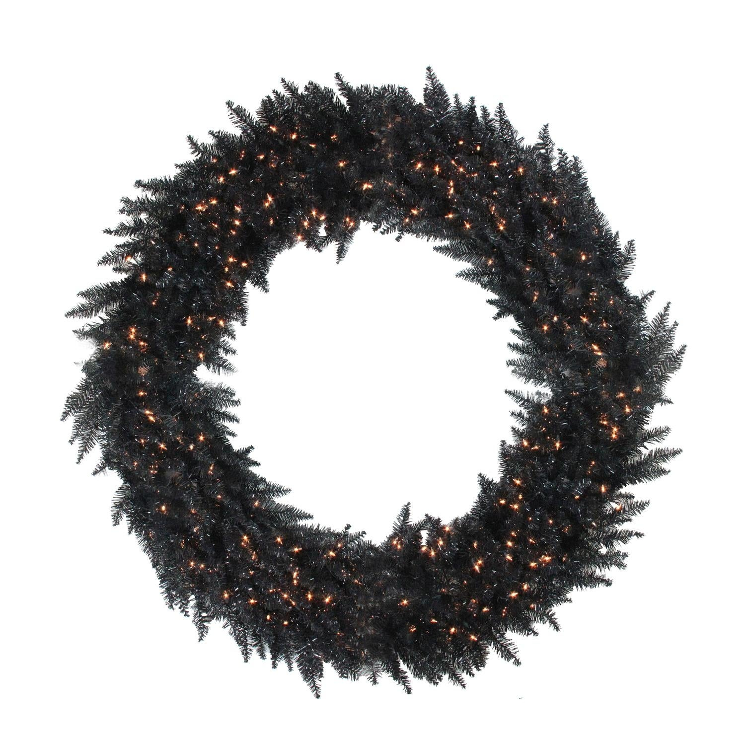 6 Pre Lit Black Ashley Spruce Artificial Christmas Wreath  Clear