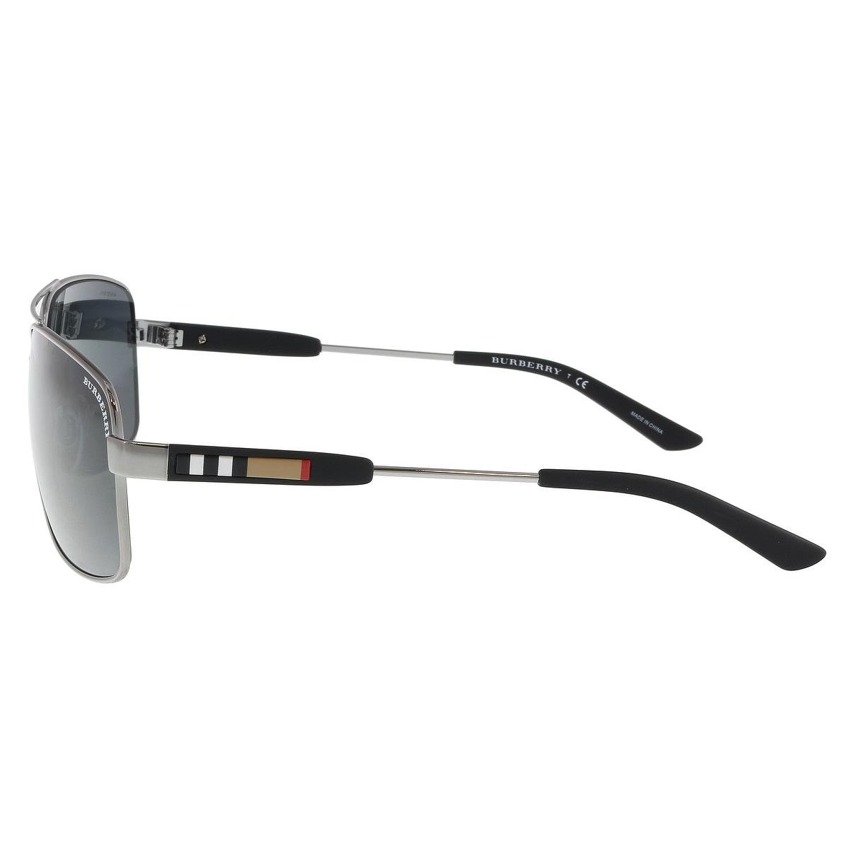 602bdfa48395 Shop Burberry BE3074 100387 Gunmetal Aviator Sunglasses - 63-15-135 - Free  Shipping Today - Overstock - 21158101