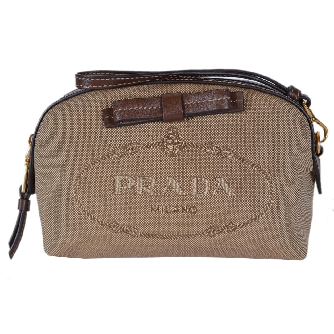 8d8e5c79c23b Shop Prada Women's Brown Canvas 1NE010 Contenitore Small Cosmetic Bag  Wristlet - Beige - Free Shipping Today - Overstock - 22537775