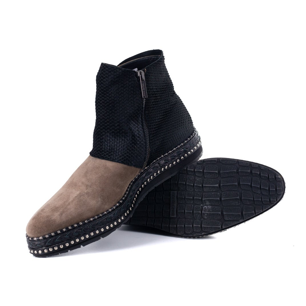 6ebbd38ddcf Shop Roberto Cavalli Mens Suede Pony Hair Black Brown Ankle Boots - Free  Shipping Today - Overstock - 21935853
