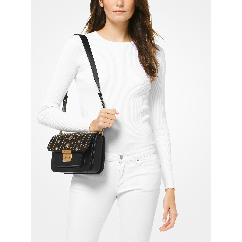 38253cc2815b Shop MICHAEL Michael Kors Sloan Editor Leather Studded Shoulder Bag  Black Gold - Free Shipping Today - Overstock - 25744621