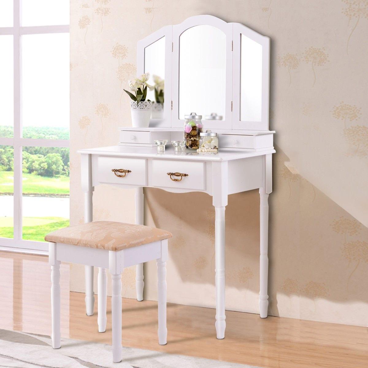 Costway White Tri Folding Mirror Vanity Makeup Table Stool Set ...