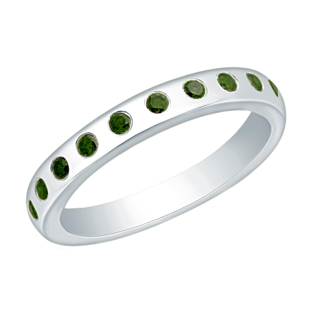 Prism Jewel 0 25ct Flush Set Round Cut Green Diamond Wedding Band Free Shipping Today 12496535