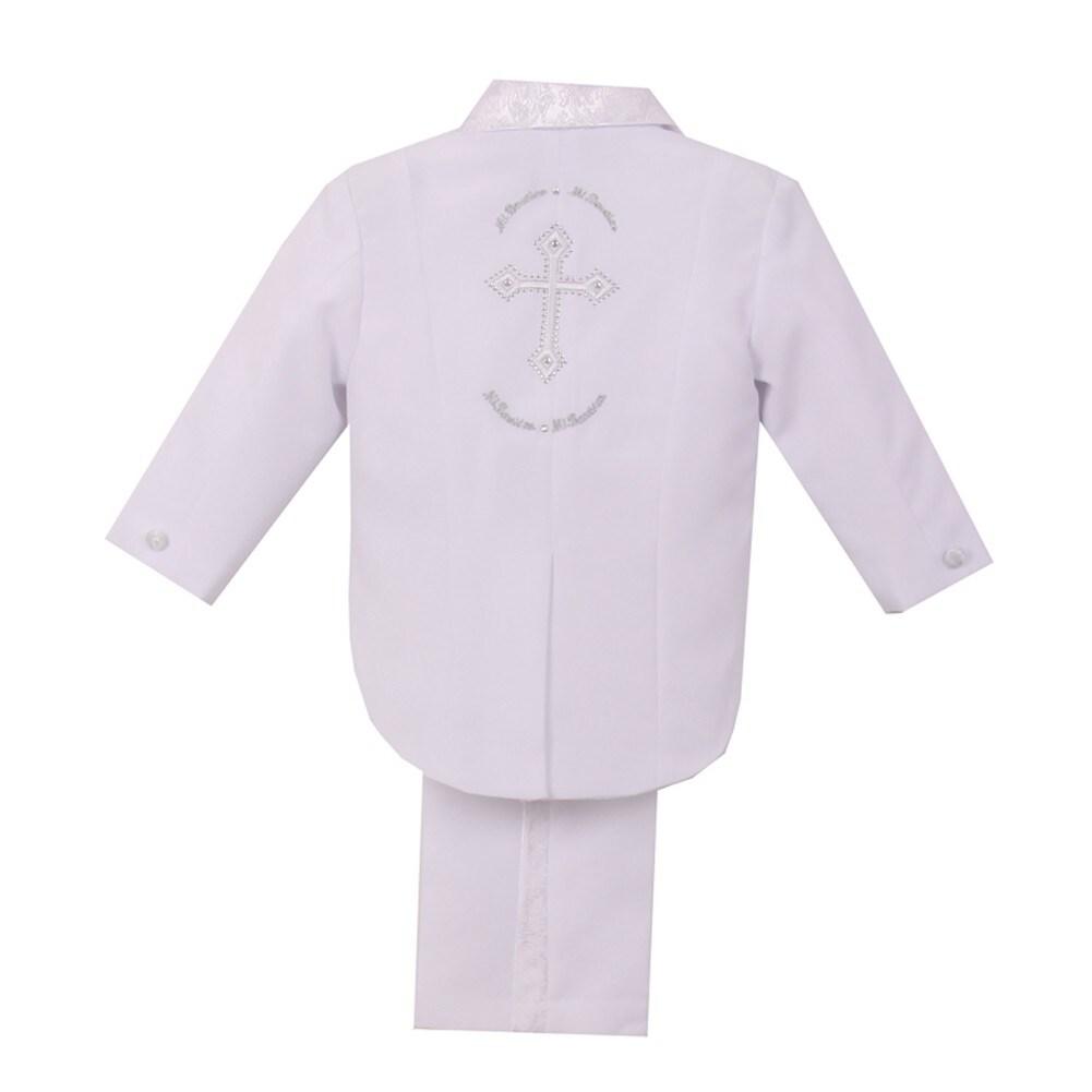 Shop Little Boys White Cross Detail Jacket Vest Pants Shirt Bow Tie