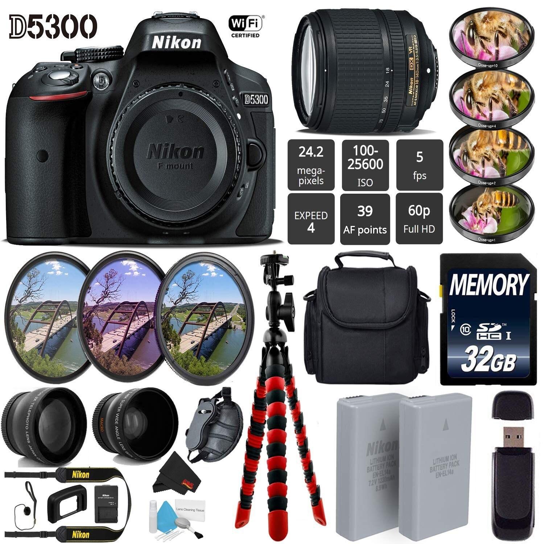 Shop Nikon D5300 Dslr Wi Fi Gps 242mp Dx Cmos Camera With Af S 18 Kamera Lensa Kit 55mm Vr Ii 140mm Lens 7pc Filter Case Bundle Intl Model Free Shipping Today