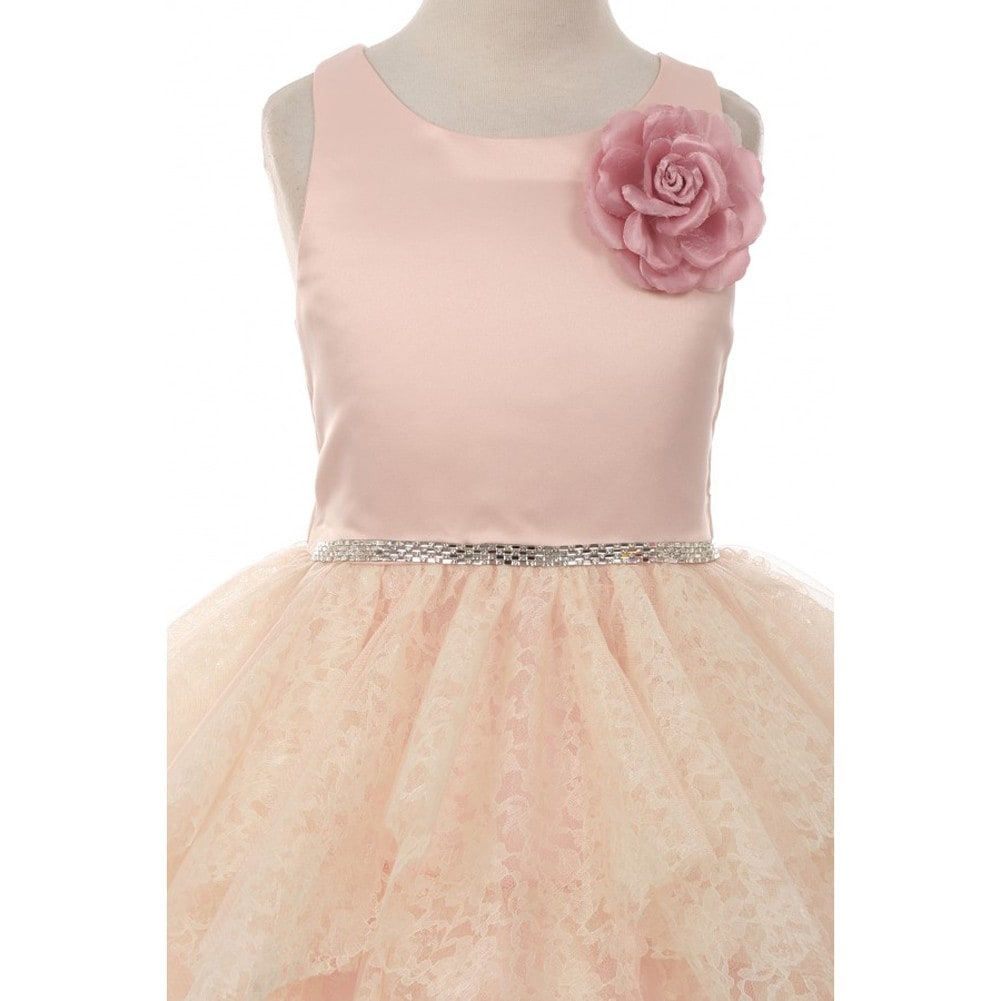 Kiki Kids Girls Blush Floral Accent Lozenge Junior Bridesmaid Dress ...