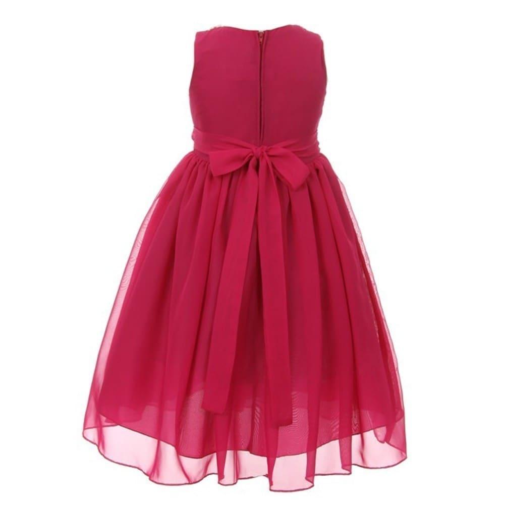 Kiki Kids Girls Hot Pink Chiffon Beaded Neckline Flower Girl Dress