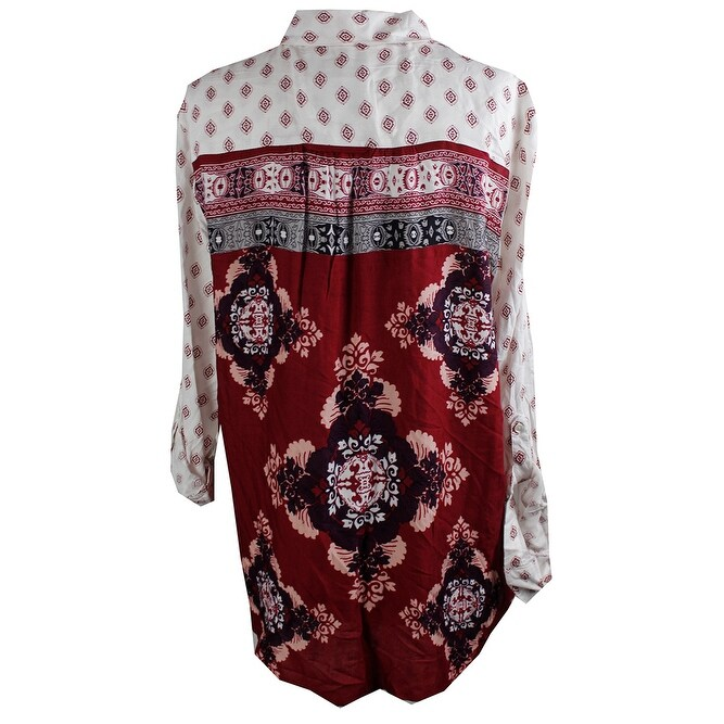 6eac731a Shop Style & Co Plus Size Ivory Red Printed Button Down Shirt 0X - Free  Shipping On Orders Over $45 - Overstock - 24196632