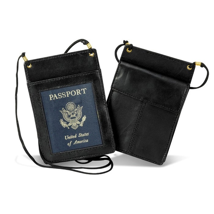 a28bf0ddca8 Shop Black leather passport holder with neck sling - One size - Free  Shipping On Orders Over  45 - Overstock - 20983299