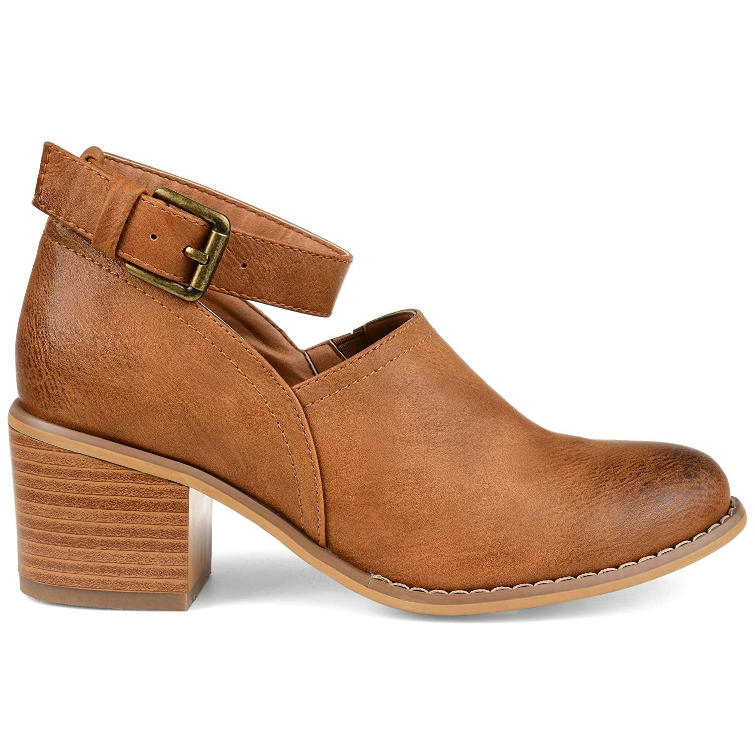 c2cb268ba3a4 Shop Brinley Co Womens Faux Leather Wood Stacked Heel Ankle Strap Clogs -  11 - Free Shipping On Orders Over  45 - Overstock - 27185119