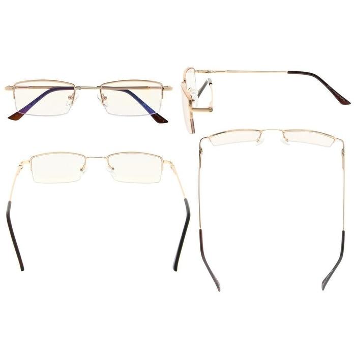 e5889a0814c9 Shop Eyekepper Half-rim Titanium Bridge Reading Glasses Blue Light Blocking  Readers Amber Tinted Lenses(Gold