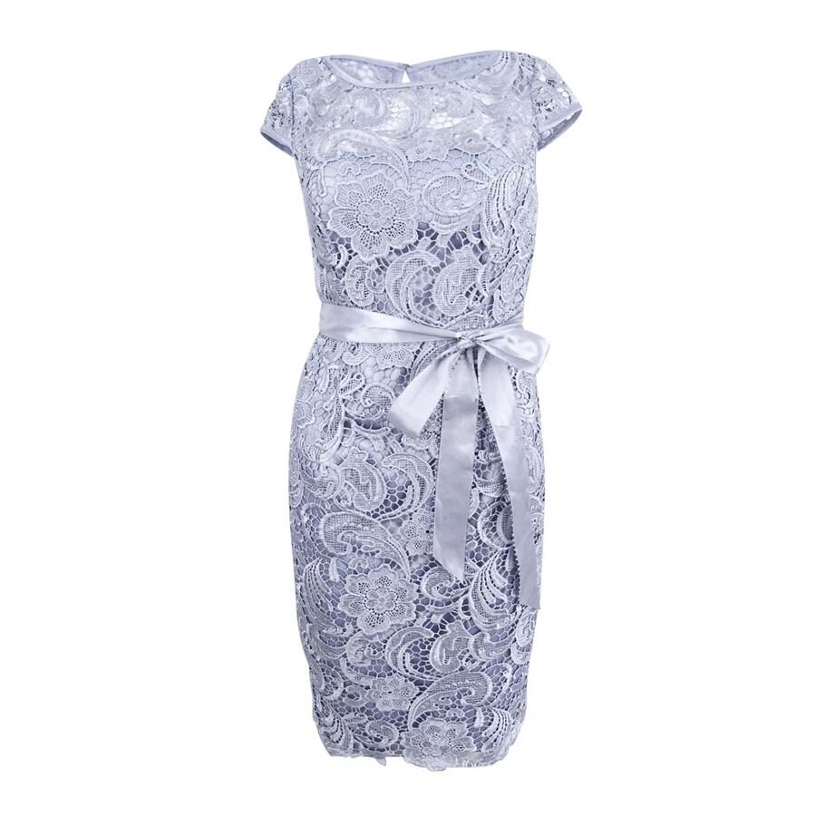 Shop Adrianna Papell Women\'s Cap-Sleeve Illusion Lace Sheath Dress ...
