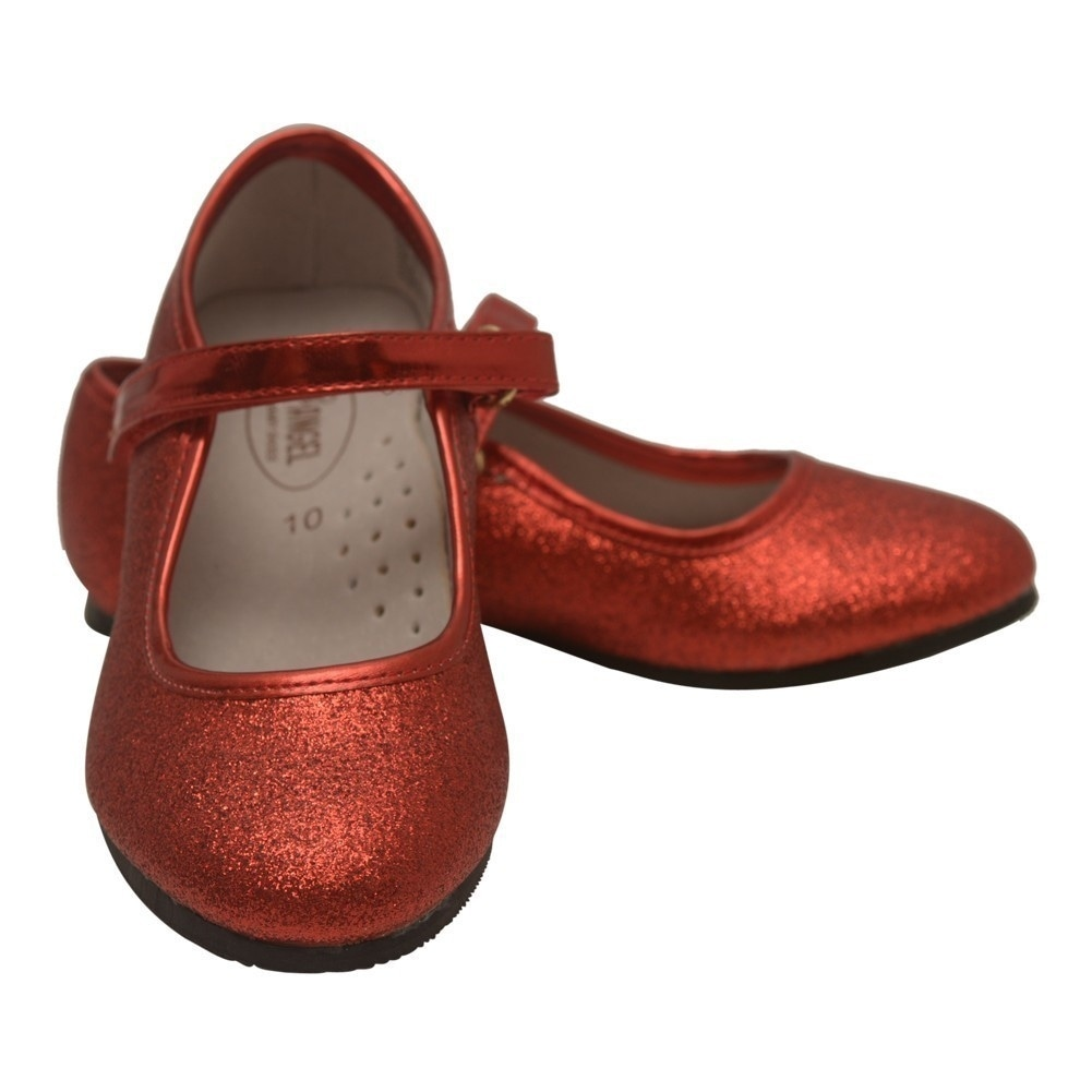 ce883ea99 Shop Angel Girls Red Hook and Loop Ankle Strap Glitter Flats 11-4 Kids -  Free Shipping On Orders Over $45 - Overstock - 25599875