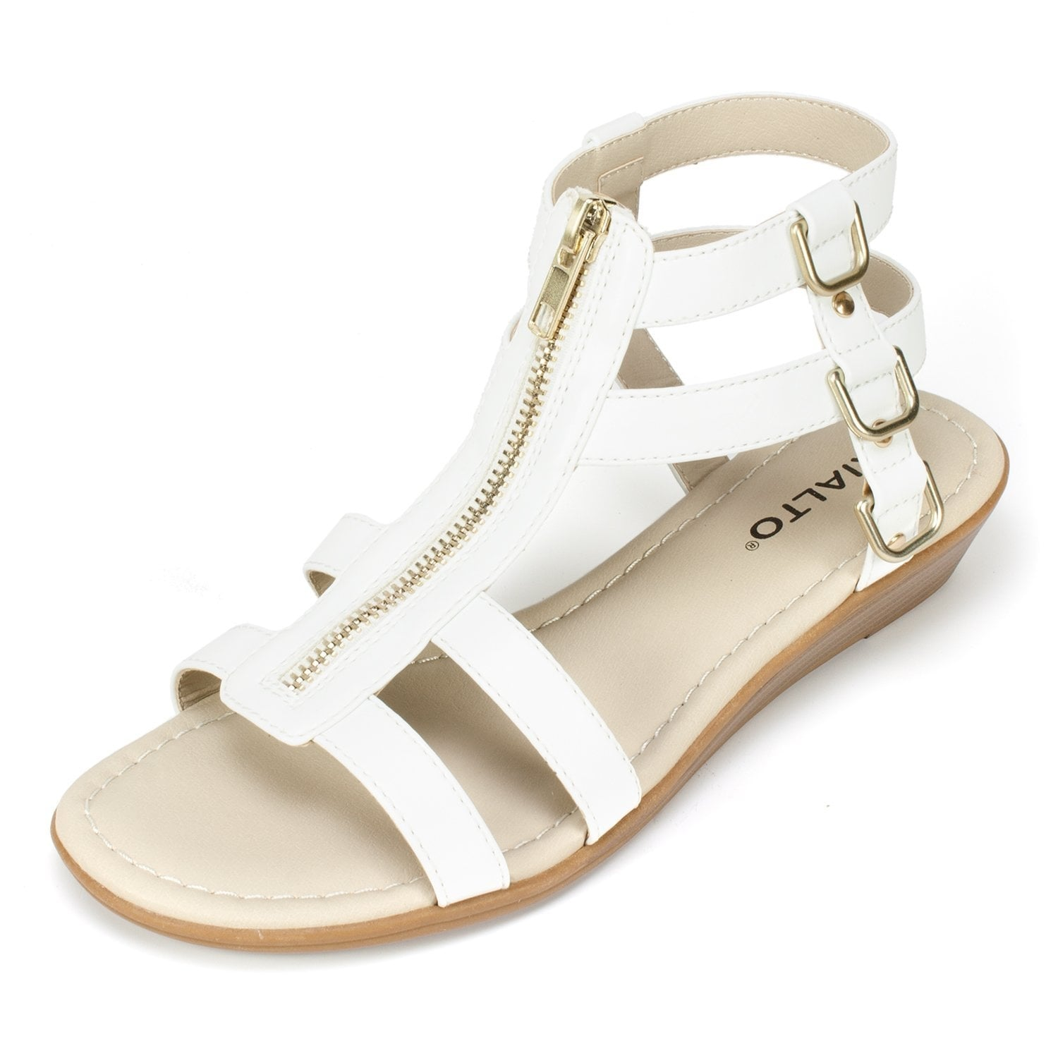 Rialto Womens Gracia Open Toe Casual Strappy Sandals White/Smooth Size 9.0