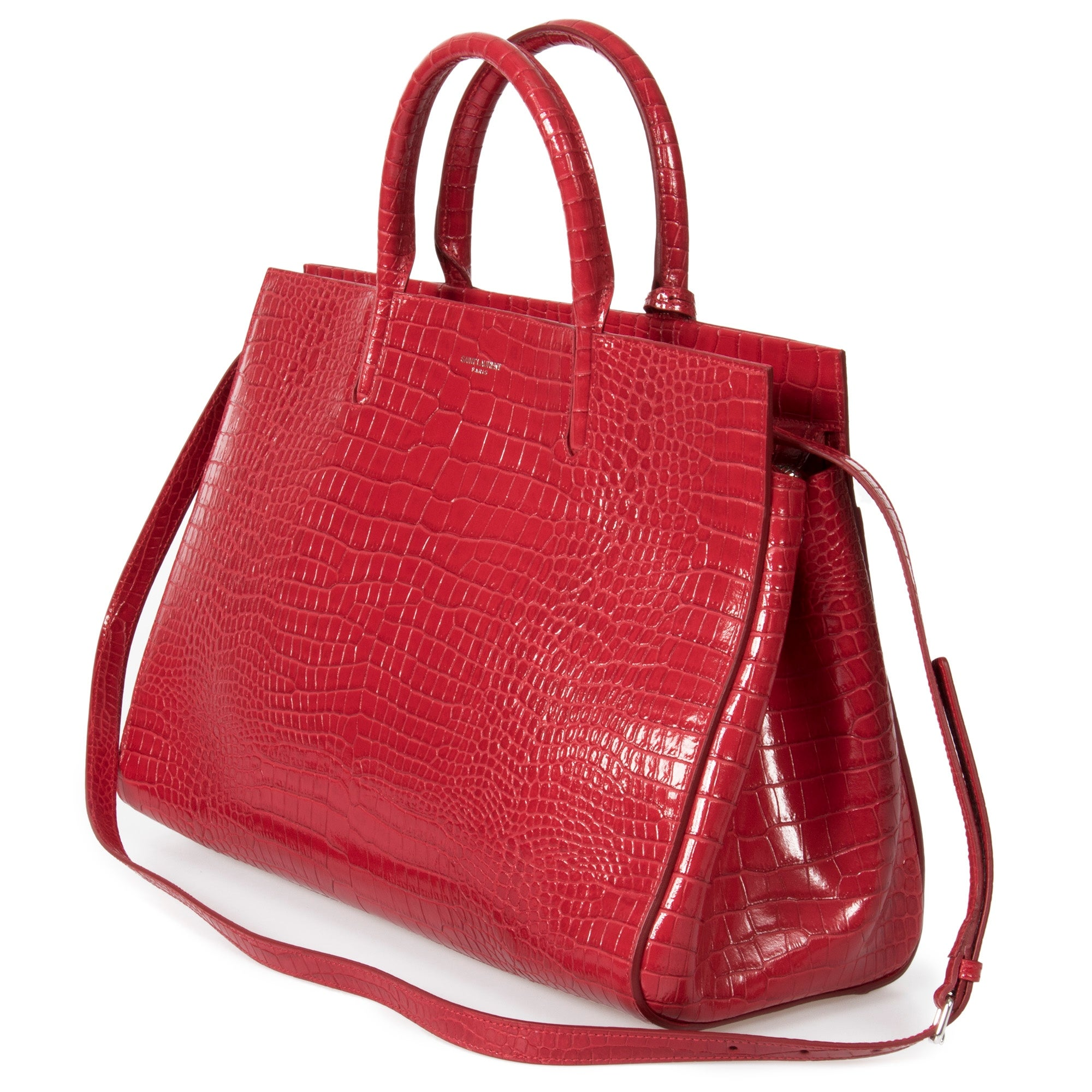 9533a0403 Shop Saint Laurent Red Crocodile Embossed Leather Medium Cabas Rive Gauche  Tote Bag - Ships To Canada - Overstock - 23077745