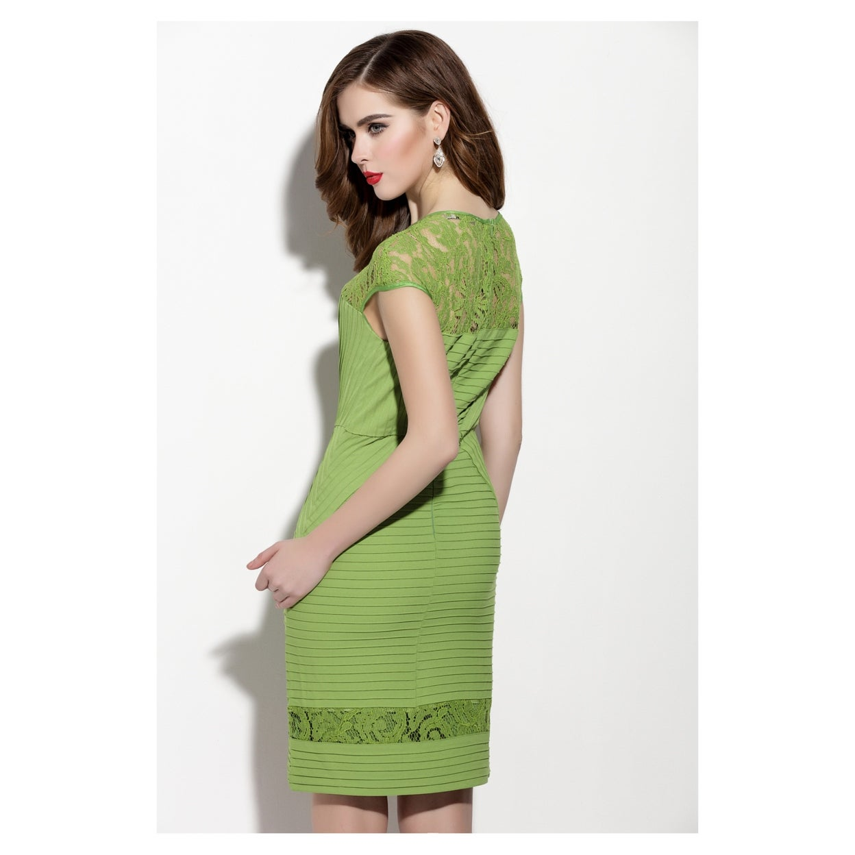 f744b52c27a Shop Green Lace Illusion Neckline Sheath Dress With Cap Sleeve - On Sale -  Free Shipping Today - Overstock - 27073500