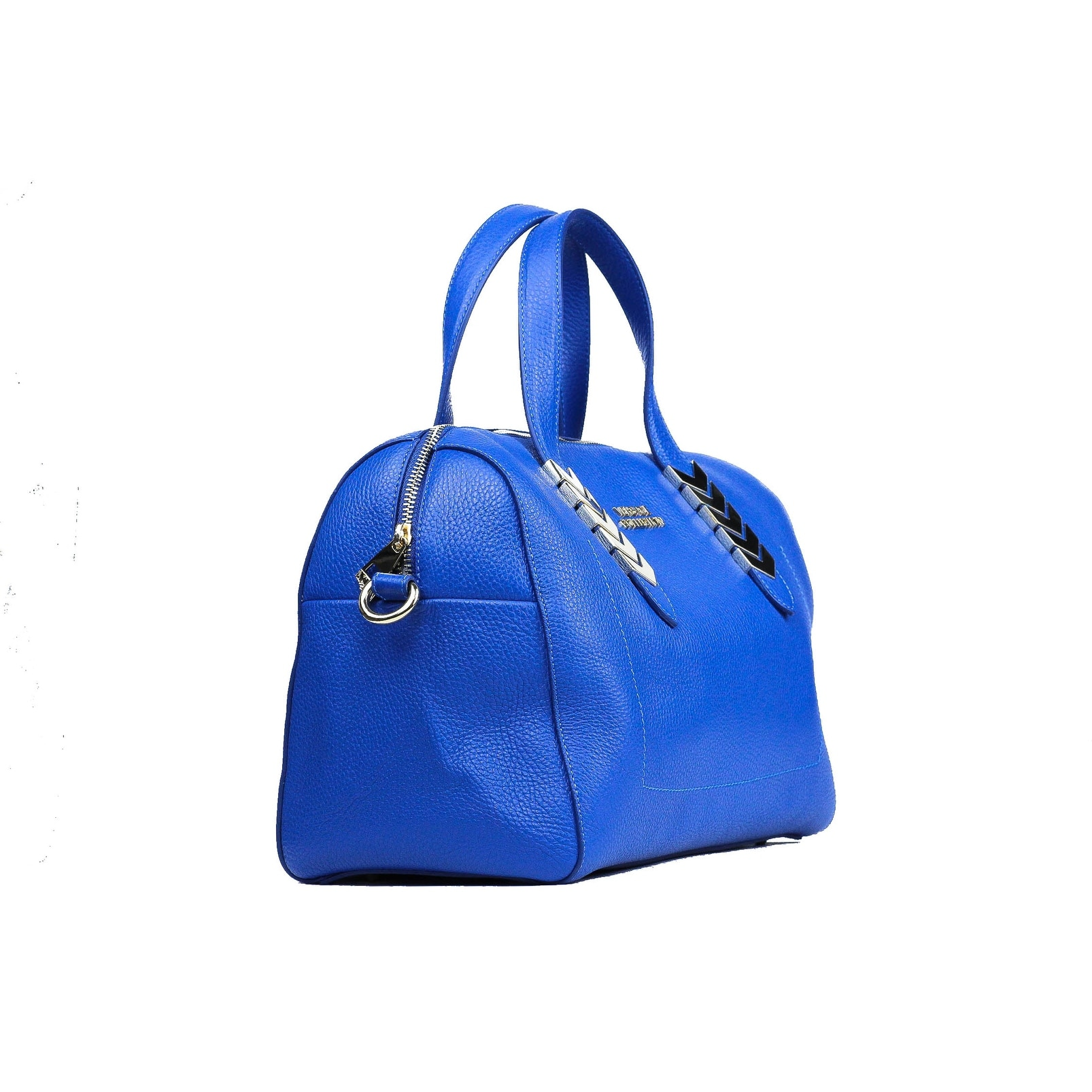Shop Versace Collection Blue Pebbled Leather Arrow Top Handle Shoulder Bag  - Free Shipping Today - Overstock.com - 21935792 023e8ed71e