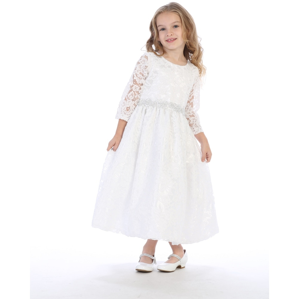 82dd0d08e4 Shop Girls White Silver Corded Floral Trim Lace Flower Girl Communion Dress  - Free Shipping Today - Overstock - 19983084