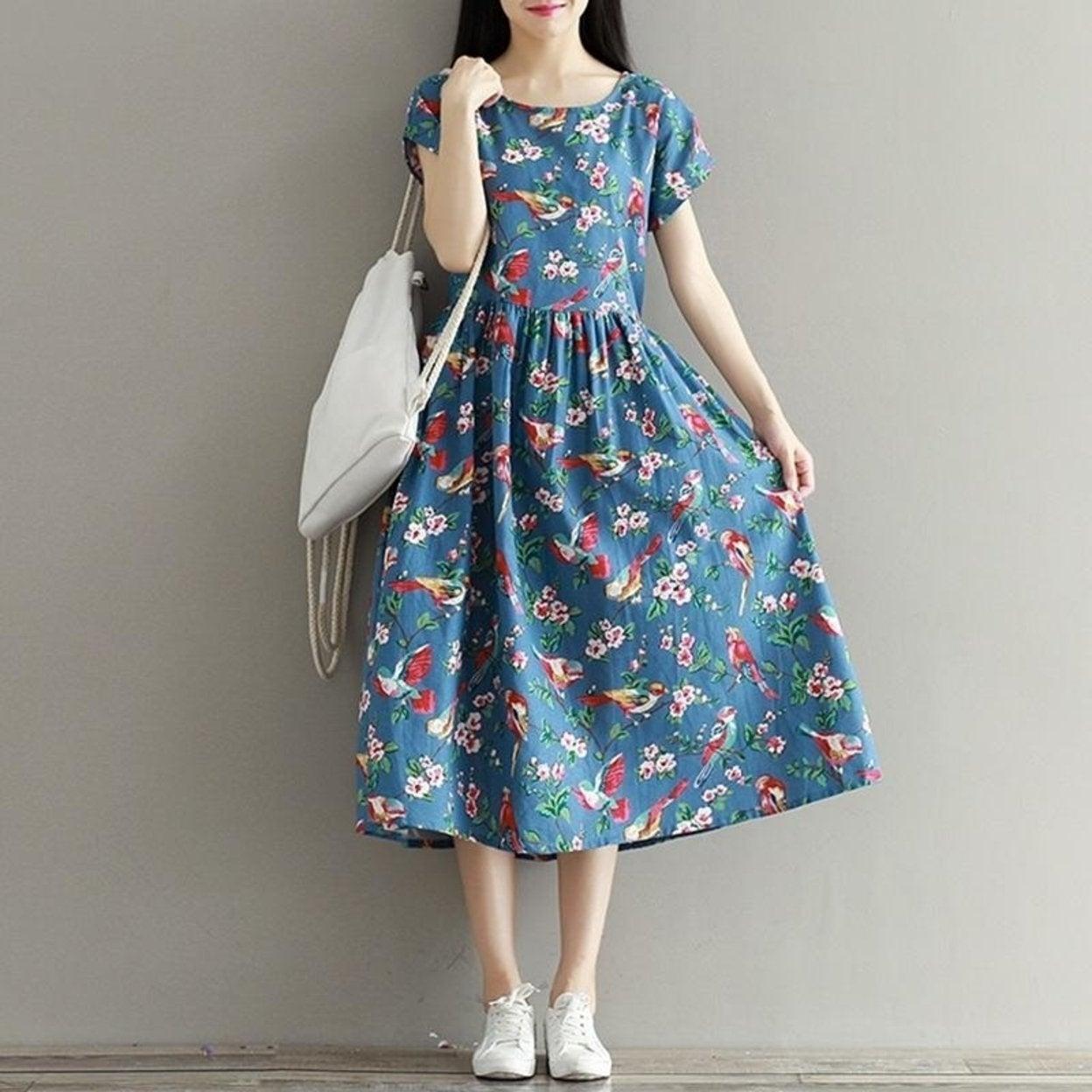 141bf624b658 Shop Women Summer Dress Mori Girl Short Sleeve Floral Print A Line Dress  Blue Color High Waist O Neck Cotton Linen Dress Size M-2Xl - Free Shipping  Today ...